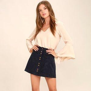 Lulus navy blue corduroy mini skirt